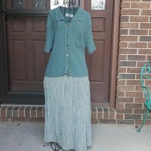 Orvis M sage sweater w/sage&white broomstick skirt